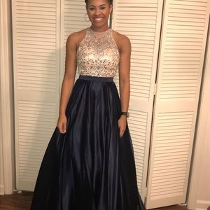Gorgeous Nude and Navy Two Piece Prom Dress